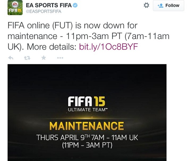 FIFA 15 servers down yesterday