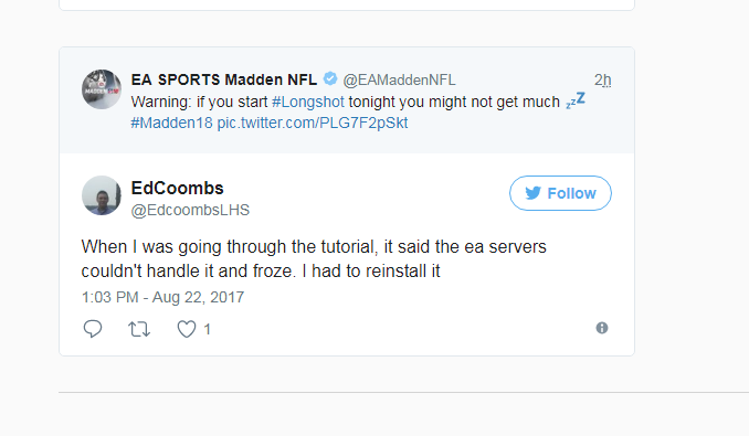 Madden 18: EA Servers Are Frozen And Down